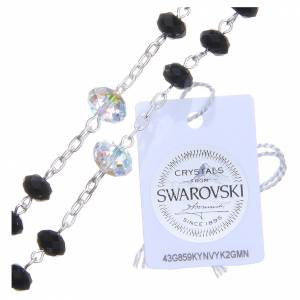 Chapelet argent 800 cristal Swarovski briolette 6 mm noir/blanc s4