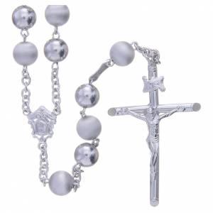 Chapelet argent 800 perles 8 mm lisses et satinées s1