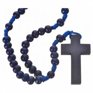 Chapelets en bois: Chapelet bois bleu 7mm corde en soie