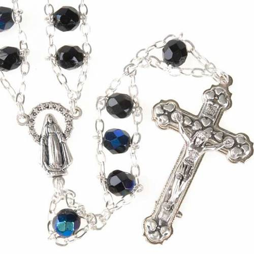 Chapelet cristal, chaîne double, noir s1