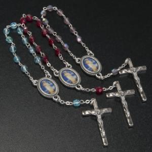 Dizainiers: Chapelet dizainier verre Notre Dame de Gonari bleu rouge rose