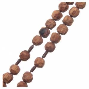 Chapelet Medjugorje bois d'olivier sur corde coeur s3
