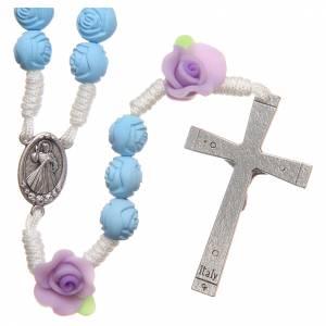 Chapelet Medjugorje petites roses bleu clair s2