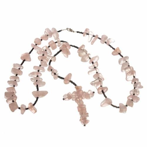 Chapelet Medjugorje pierre dure rose transparente s3