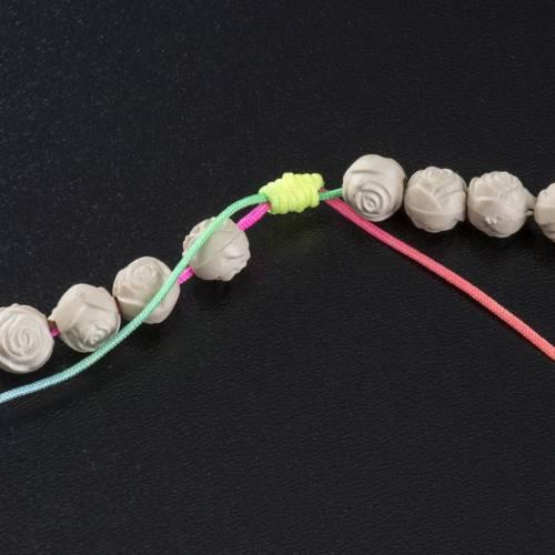 Chapelet Medjugorje pvc roses corde multicolore s5