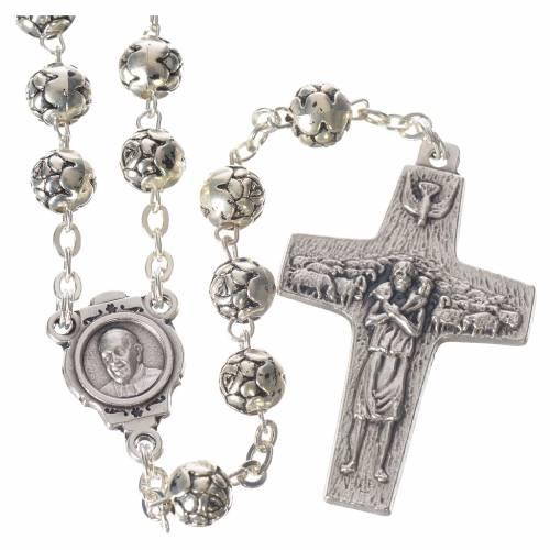 Chapelet Pape François petites roses métal argenté s1