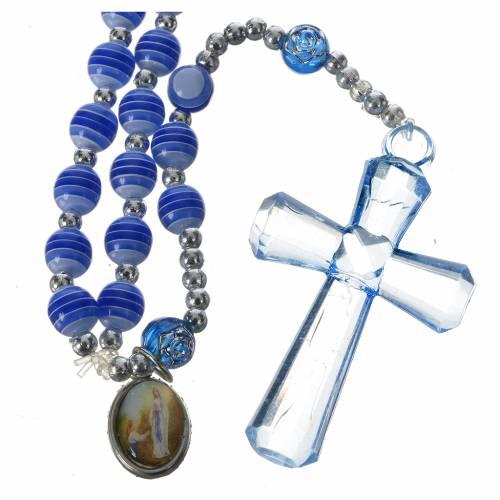 Chapelet résine bleue 6 mm Lourdes s1