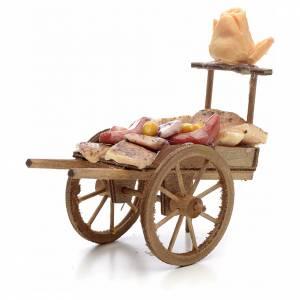 Charrette avec viande et lard, accessoire crèche Napolitaine s2