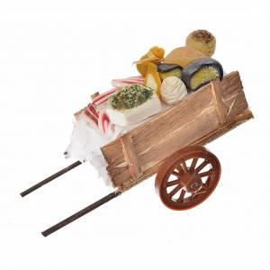 Charrette miniature, fromages et charcuterie en cire 5x11x5 s1