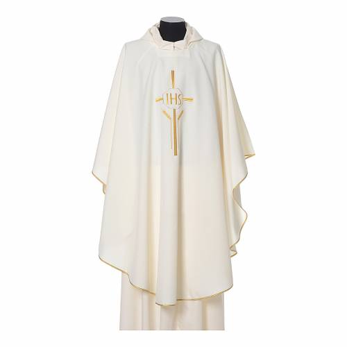 Chasuble 100% polyester IHS croix épis s4