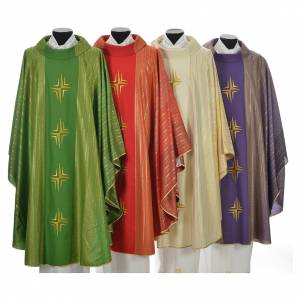 Chasubles: Chasuble 4 crosses in Tasmanian wool with double twisted yarn