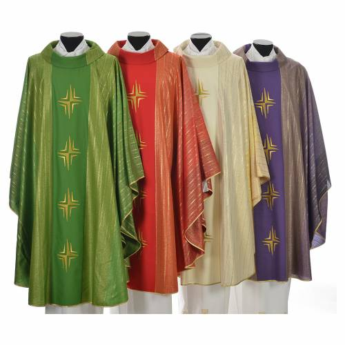 Chasuble 4 crosses in Tasmanian wool with double twisted yarn s1