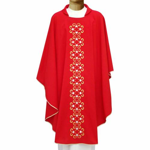 Chasuble broderie florale stylisée 100% polyester s1
