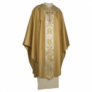 Chasubles: Chasuble couleur or IHS avec croix laine et lurex
