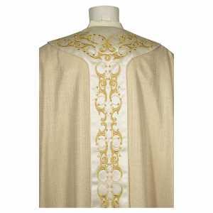 Chasubles: Chasuble gotique 100% pure soie naturelle broderie florale bande centrale avant
