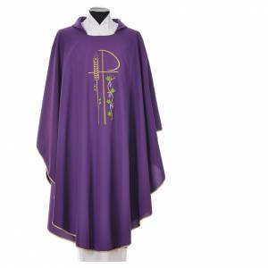 Chasuble in polyester with Chi-Rho and grapes and vine symbols s3