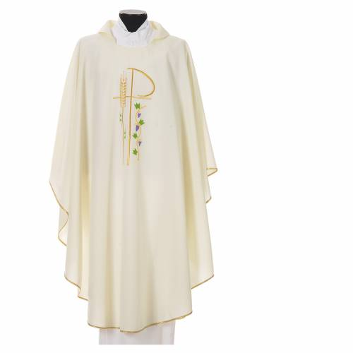 Chasuble in polyester with Chi-Rho and grapes and vine symbols s4