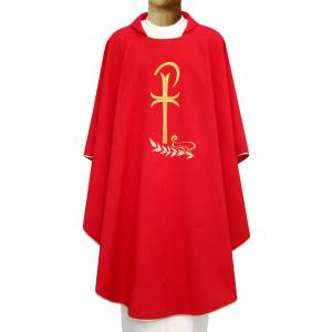 Chasubles: Chasuble in polyester with Chi-Rho and wheat symbol