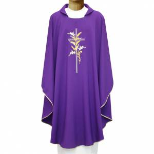 Chasubles: Chasuble in polyester with cross and wheat