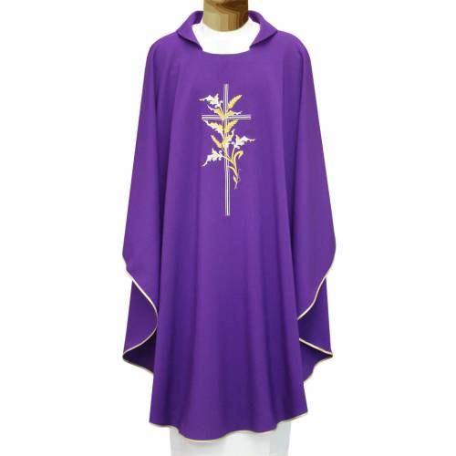 Chasuble in polyester with cross and wheat s1