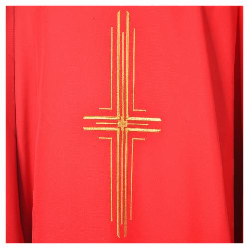 Chasuble in polyester with golden cross s2