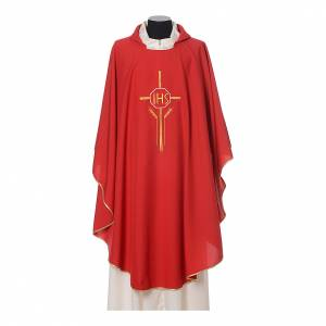 Chasuble in polyester with JHS, cross and wheat embroidery s6