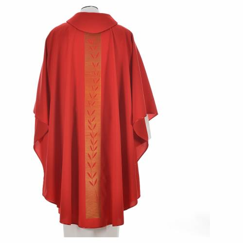 Chasuble in polyester with olive branch embroidery on orphrey s8