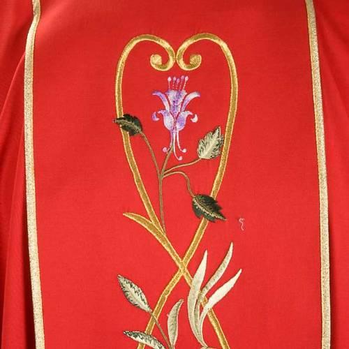 Chasuble liturgique 100% laine, roses et rameaux s5