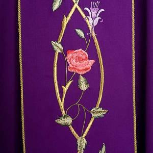 Chasuble liturgique 100% laine, roses et rameaux s4