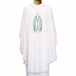 Chasuble liturgique mariale 100% polyester s1