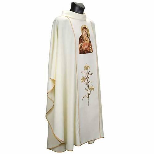 Chasuble Mariale Vierge de la Tendresse et lys s3