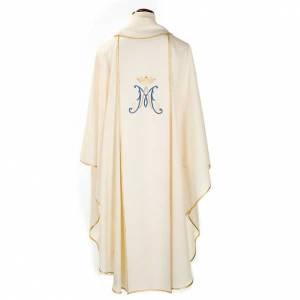 Chasuble Mariale Vierge Marie et symbole 100% laine peinte s2