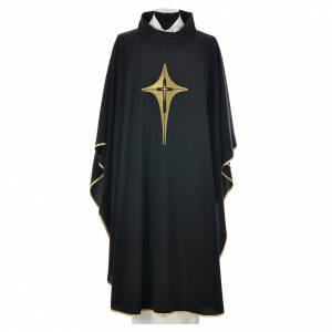 Chasuble noire 100% polyester croix stylisée s1