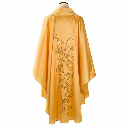Chasuble with IHS symbol, grapes and ears of wheat - shantung s2