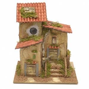 Maisons, milieux, ateliers, puits: Chaumière avec 2 entrées 25x21x16 cm