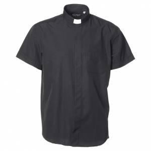 Chemises Clergyman: Chemise clergy coton polyester noir manches courtes