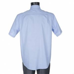 Chemises Clergyman: STOCK Chemise clergy m.courte fil à fil azur