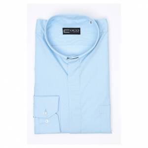 Chemise clergy m. longues couleur unie Mixte coton Bleu clair s3