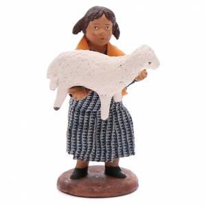 Belén napolitano: Chica con cordero en brazos 12 cm Belén napolitano