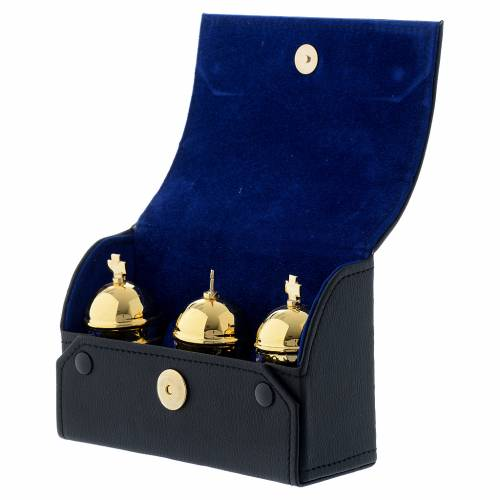 Chrismatory set: 3 holy oil stocks case blue inside s3