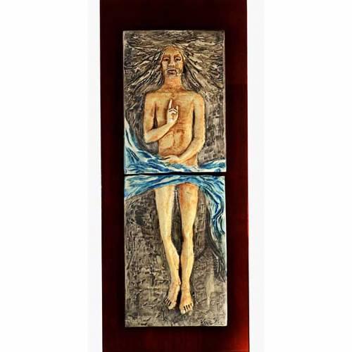 Christ ressuscité 15ème station, majolique sur bois cerisier s1