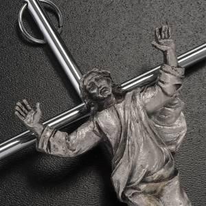 Crucifix en métal: Christ ressuscité croix métal argenté, mur