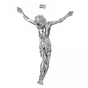 Reconstituted marble religious statues: Christ's body crucified in marble dust finished in silver