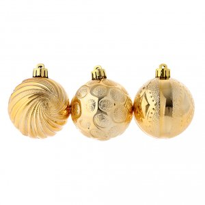Christmas tree ornaments in wood and pvc: Christmas bauble golden 60 mm