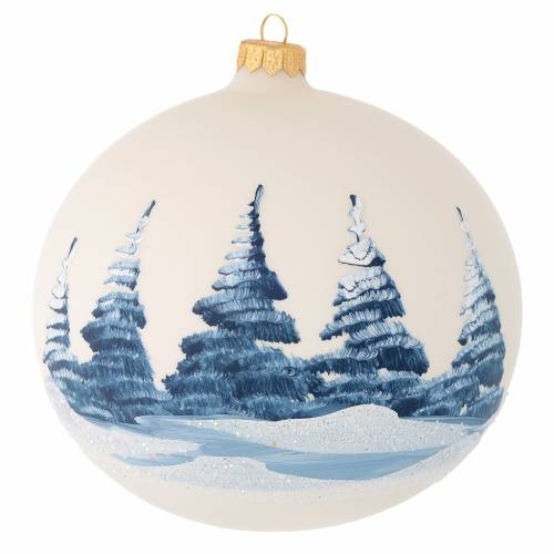 Christmas bauble in ivory blown glass with landscape 150mm s2