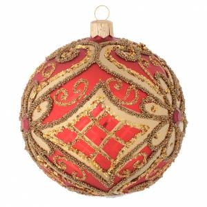Christmas bauble in red blown glass with decorations in relief 100mm s2