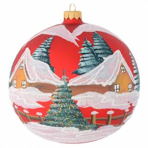 Christmas bauble in red blown glass with houses 150mm s1