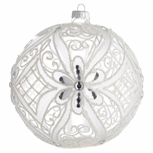 Christmas Bauble matte white and transparent 15cm s1