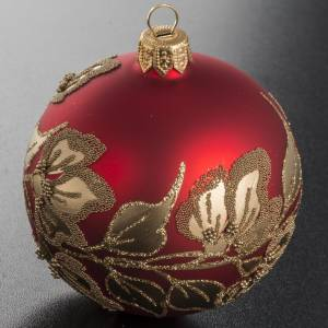 Christmas bauble, red glass with golden plants and flowers, 8cm s2