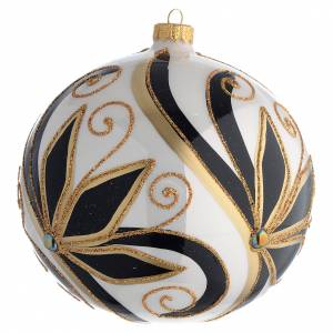 Christmas Bauble shiny black and gold 15cm s2